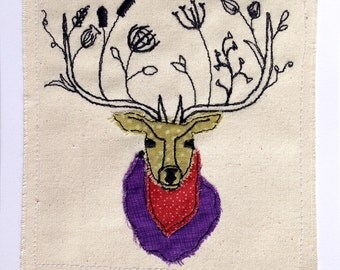SALE: Stag greeting card, machine embroidered stitched fabric applique. Blank inside.
