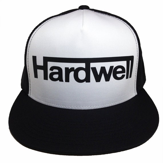 HARDWELL Black and White Trucker Hat - Unisex Adjustable Closure - Flat bill - High profile - EDM Fan Gear - 5 panel Design