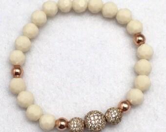 Cream Bracelet Ivory Bracelet, White Bracelet, Czech Crystal Bracelet, Beaded Bracelet, Handmade Bracelet, Czech Bracelet, Bridal Bracelet