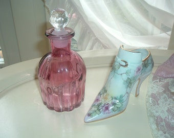 Victorian style boot with hand painted roses