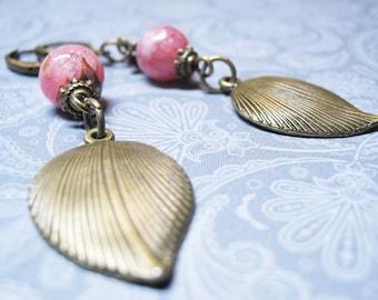 Rhodochrosite Earrings Vintage Earrings Rhodochrosite Jewelry Dangle Earrings Romantic Earrings Gemstone Earrings Love Jewelry Gift for Her
