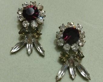 Vintage Czech Purple and Green Crystal Rhinestone Pierced Earrings