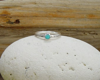 Turquoise Stacking Ring, Silver Stacking, Blue, Boho Beach Jewellery.