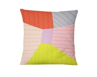 Color Block Pillow, Cotton Cushion, Geometric Pillow, Home Decor