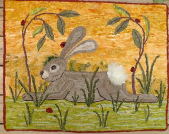 Resting Rabbit II Rug Hooking Pattern