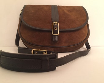 Sale! COACH: Suede and Leather flap front crossbody with brass accents