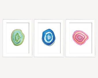 Set of 3 Geode Prints, 3 for 2 prints, Agate Slice Prints, Agate Print, watercolor printable art, printable watercolor