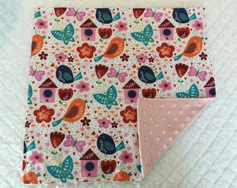 Small Baby Blanket- Birds and Butterflies