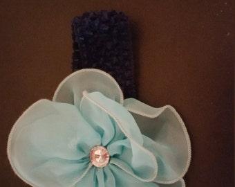 Blue headbands, newborns, baby girls, big bows