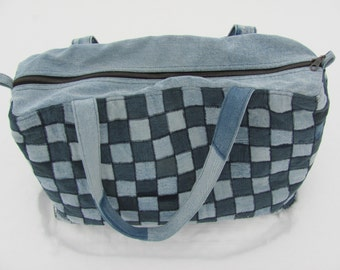 Denim bag. Great denim tote with a handle. Patchwork from recycled jeans. Cargo pockets. Roomy, great as a diaper bag.