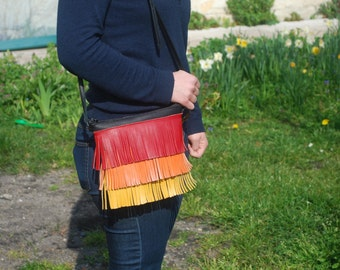 Hand made leather fringed pouch