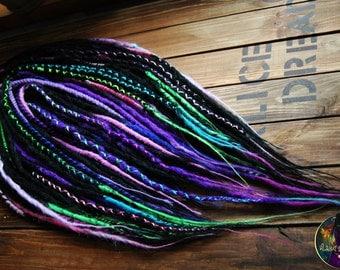 Synthetic double ended dreads 5 DE - 40 DE mix structures