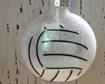 Personalized Volleyball Ornament || Live to Play || Christmas Ornament || Glitter Volleyball Ornament