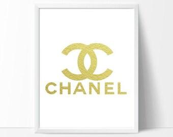 Coco Chanel, Chanel Logo, Chanel Art, Gold Wall Art, Gold Foil Print, Gold Wall Print, Modern Calligraphy