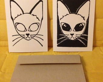 Black and White Cat Note Cards, Linoleum Block Prints