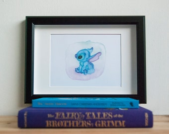 "Stitch ""Ohana Means Family"", art print, from original watercolor, home decor"