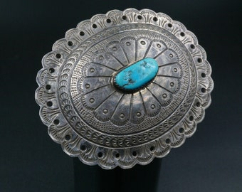Rare  L Blackgoat Navajo Sterling Silver Turquoise Concho  Belt Buckle M160