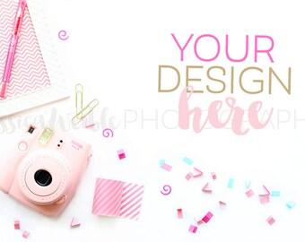 Feminine Pink Camera + Confetti Styled Desktop, Styled Stock Photography, Feminine Styled Mockup, Product Background Photo, Desk Mockup