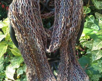 Chunky Micro-ribbon and Wool Hand-knitted Scarf