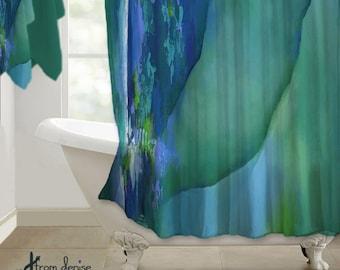 Modern, Shower curtain, Abstract art design, Teal, Green, Cobalt blue, Home decor, Bathroom decor, Designer bath, Artsy, Contemporary design