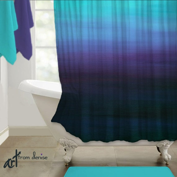 Ombre shower curtain teal purple violet aqua by for Teal coloured bathroom accessories