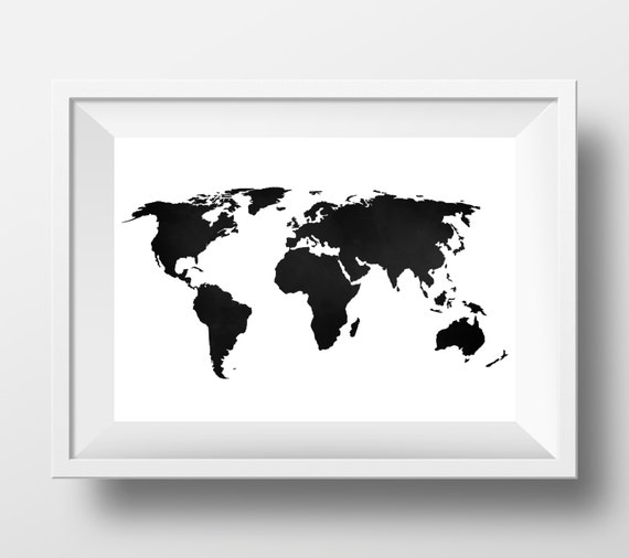 world map print world map poster black and by designsbylittlepitti. Black Bedroom Furniture Sets. Home Design Ideas