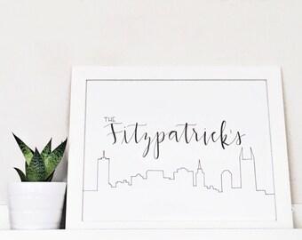 Custom Family Name Sign - City - Skyline - Personalized