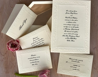 Embossed Damask Elegance Wedding Invitations - Formal Wedding Set - Thermography Wedding Invite Suite - AV1718