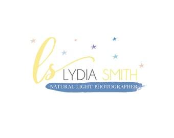 Pre made custom Newborn Family Photographer Logo design-Baby Logo-Stars watercolor logo