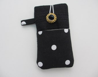 Black spot  iPhone SE case, linen phone sleeve, iPod touch sleeve, iPhone 5 case, cell phone pouch, Xperia cover, black dotty phone wallet