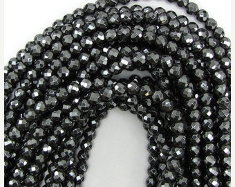 """10% SALE 6mm faceted hematite round beads 16"""" strand 12993"""