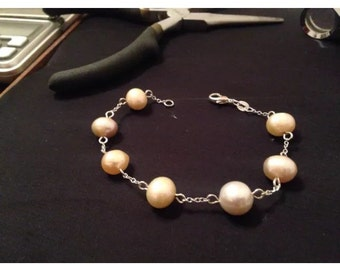 Sterling silver chain linked pearl bracelet