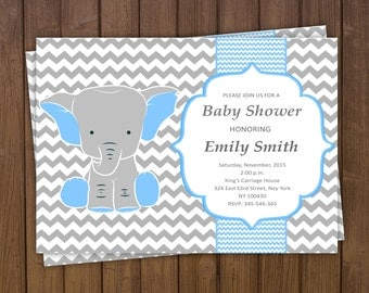 Elephant Baby Shower Invitation Boy Elephant Invitation Baby Boy Invitation Baby Shower Invitation Chevron Baby Shower Printable Invitation