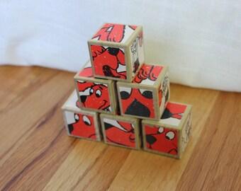 6 Vintage, Clifford the Big Red Dog Wooden Blocks