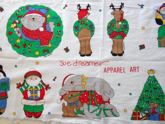 Vintage Apparel Art Appliques by Sue Dreamer Christmas Holiday Craft Applique Sewing Project Applique Christmas Decor Sweatshirt  Appliques