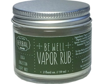 Vapor Rub, Pure Essential Oils, Organic, Safe for Kids, Cold & Flu Remedy, Cough Relief, Immune Support, Eucalyptus-free, Be Well