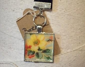 Navy Blue Velvet Bookmark with Floral Charm