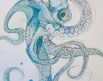 Señor Octopus - Watercolour and Ink Illustration - Greeting Card