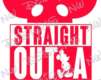 Straight Outta Disneyland Mickey Ears DIY Printable Iron on Transfer Red