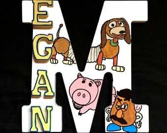 Custom Cartoon Name! Wood Wall Letter