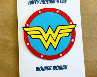 Mother's Day Wonder Woman Card - Papercut Hand Made Blank Card - Greetings Card - Can Be Personalised