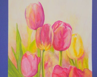 "Unframed Original Watercolor Painting of 6 Tulips (18.5"" x 14"")"
