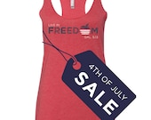 4th of july shirt women. july 4th tee. Freedom Tank. Workout Clothing Womens. Christian Clothing.  4th of July. Exercise Tank Top.