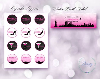 Bride in the City Cupcake Toppers and Water Bottle Labels