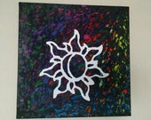 Melted Crayon Art, 12x12 Sun and Moon Melted Crayon Art