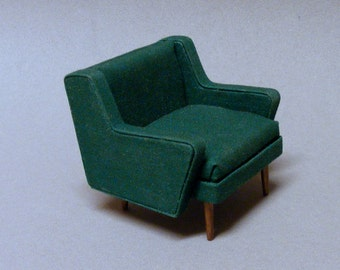 1/12 Dollhouse Mid Century Modern Club Chair