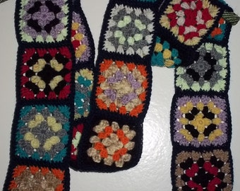 more colorful, crocheted granny square scarf