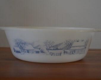 Vintage Glasbake round casserole dish, Currier and Ives pattern, 2 quart, J-514