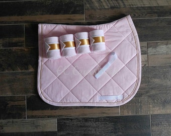 Quilted Dressage Saddle Pad Set w/Polo Wraps & Piping
