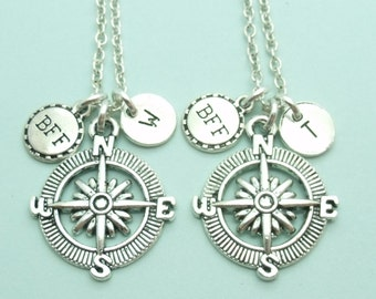 BFF SET of TWO compass necklace, bff personalised necklace, bff gift, best friends forever, distance necklace, friendship, initial, letter